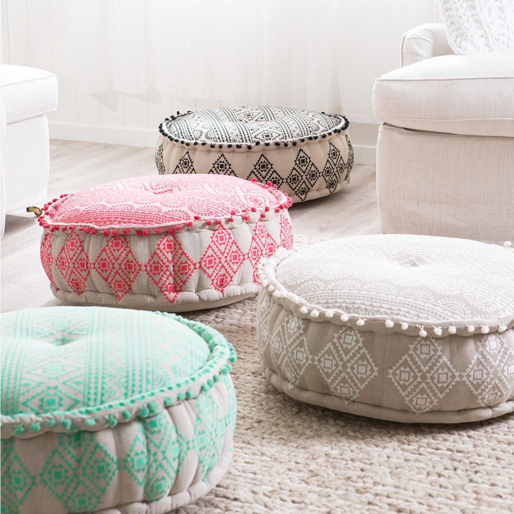 Brighten Up Your Home Décor With The Gorgeous Boho Inspired Wanderer Pouf.  Coordinate With
