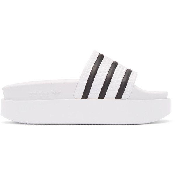 adidas Originals White Adilette Bold