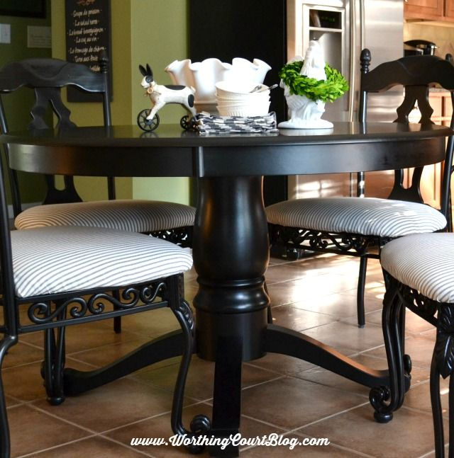 Transform Kitchen Chairs With Spray Paint And A Little Fabric Worthing Court Painted Kitchen Tables Kitchen Table Wood Wood Kitchen Chair