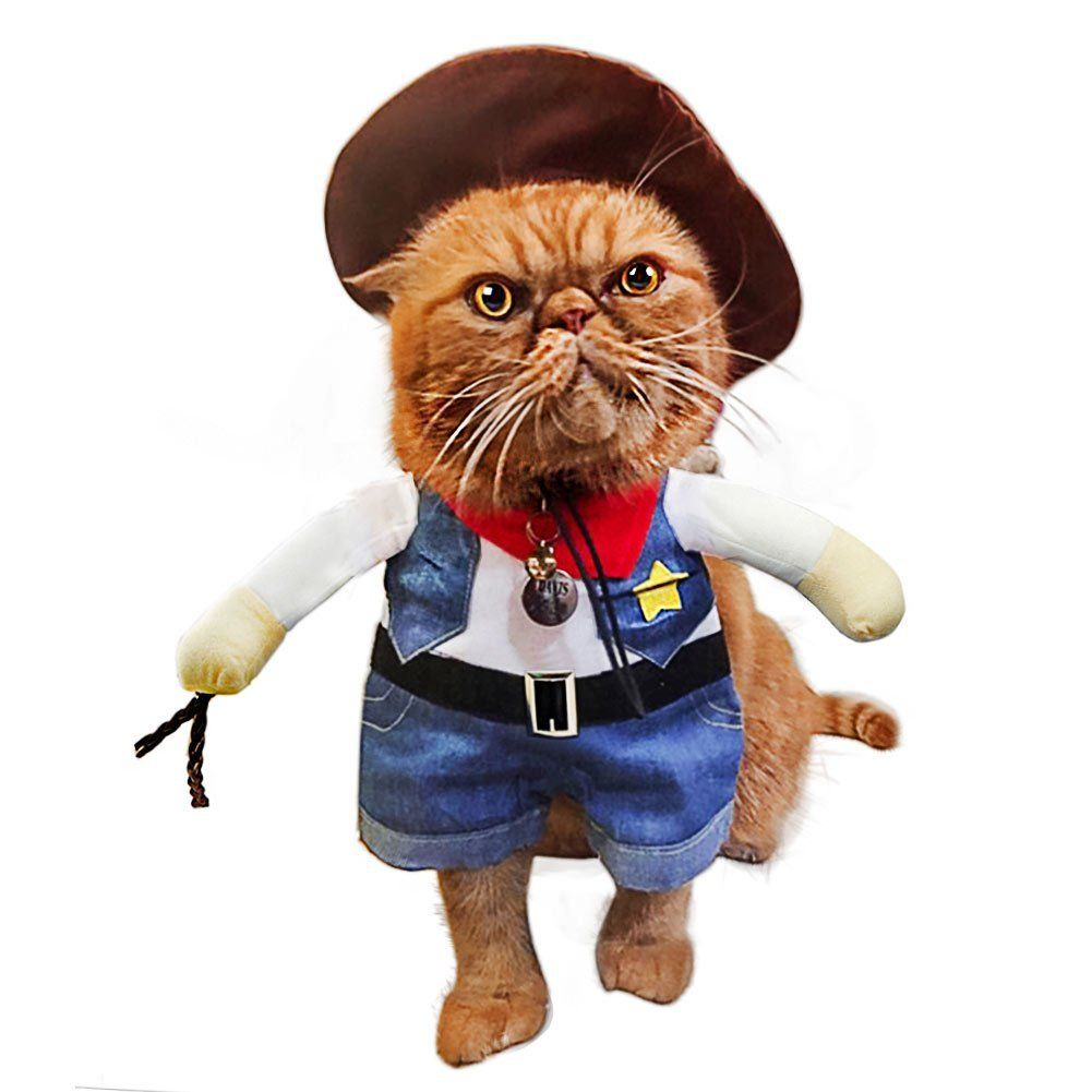 Pet Cat Costume Suit Cowboy Outfit Clothes for Halloween