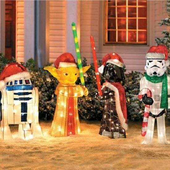 sale set of 4 lighted pre lit star wars characters christmas outdoor yard decor