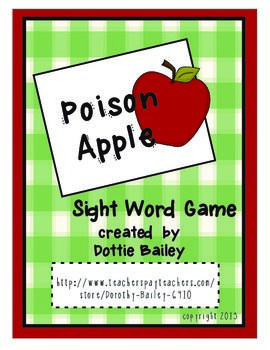Included in this download are 40 word strips and 5 Poison Apple strips. Also included is a label for a tall plastic container. (I use Crystal Light containers)Laminate and cut out the strips. Place in a tall plastic container decorated with the Poison apple label.