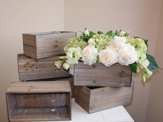 Holz-Box Holz Holzkisten für Mittelstücke Übertopf Blumentopf rustikalen Platz Vasen für Hochzeit Tisch Dekor Holzkisten rustikalen chic #plantersflowers