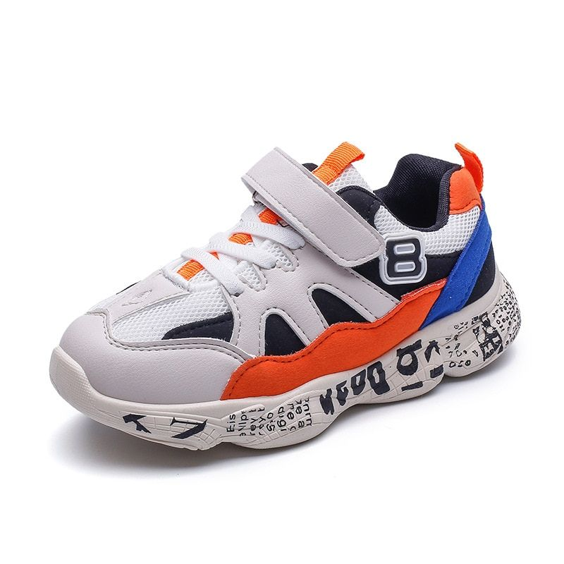 0e035a170f16 2019 New Kids Fashion Sneakrs Letters Printed Old Dad Shoes for Boys Girls  Hook   Loop