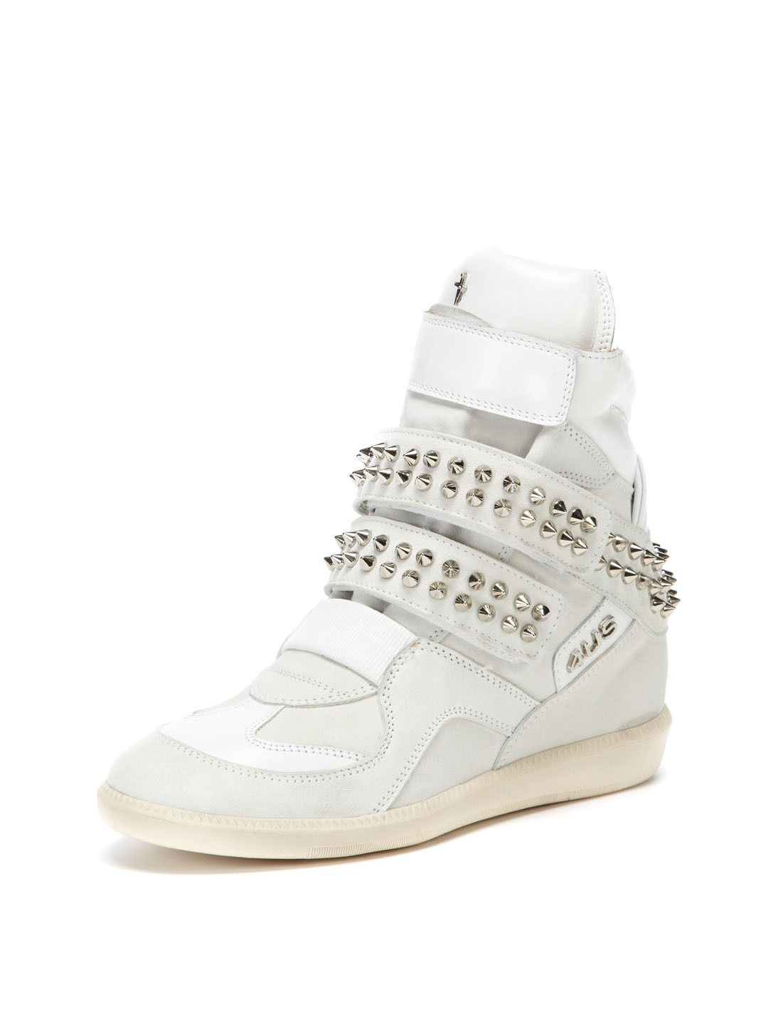 Studded Suede Leather Combo Wedge Sneaker by Cesare Paciotti at Gilt