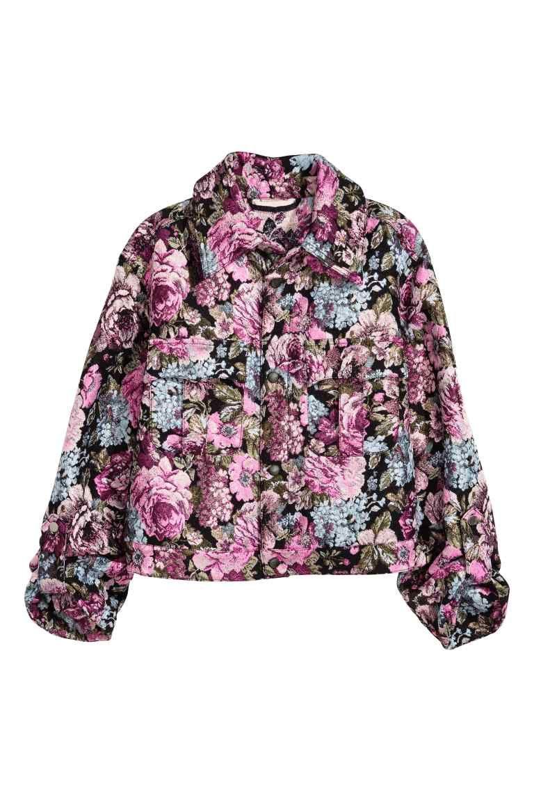 Zakardowa Kurtka Czarny Kwiaty Ona H M Pl Fashion Floral Jacket Woven Jacket