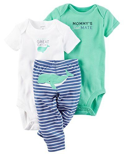 84adf7495a44 Carter s Baby Boys 3 Piece Little Character Bodysuit and Pant Set (Whale)(6  Months)