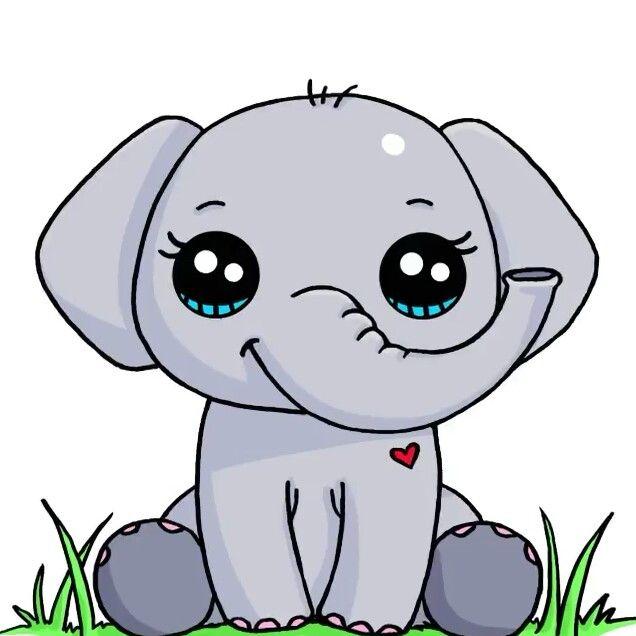 Elephant Cute Kawaii Drawings Cute Elephant Drawing Cute
