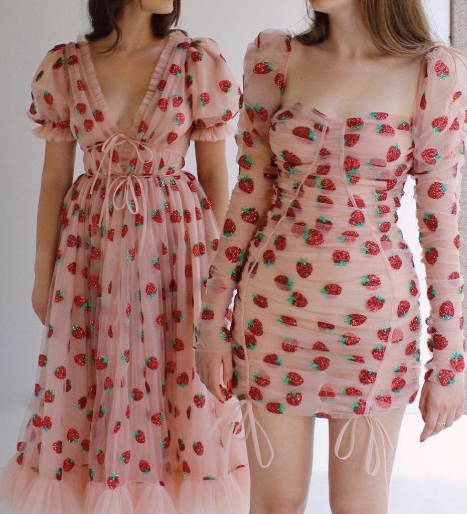 Strawberry Dresses By Lirika Matoshi Fashion Dresses Cute Dresses [ 1024 x 931 Pixel ]