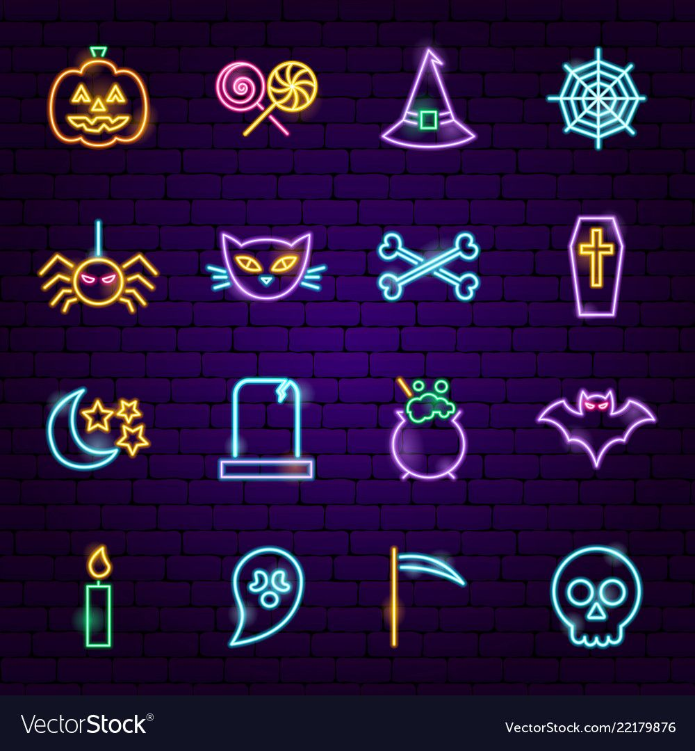 Halloween neon icons vector image on VectorStock Neon