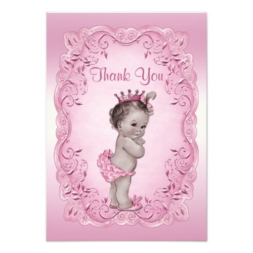 Thank you pink vintage princess baby shower card vintage princess thank you pink vintage princess baby shower card filmwisefo
