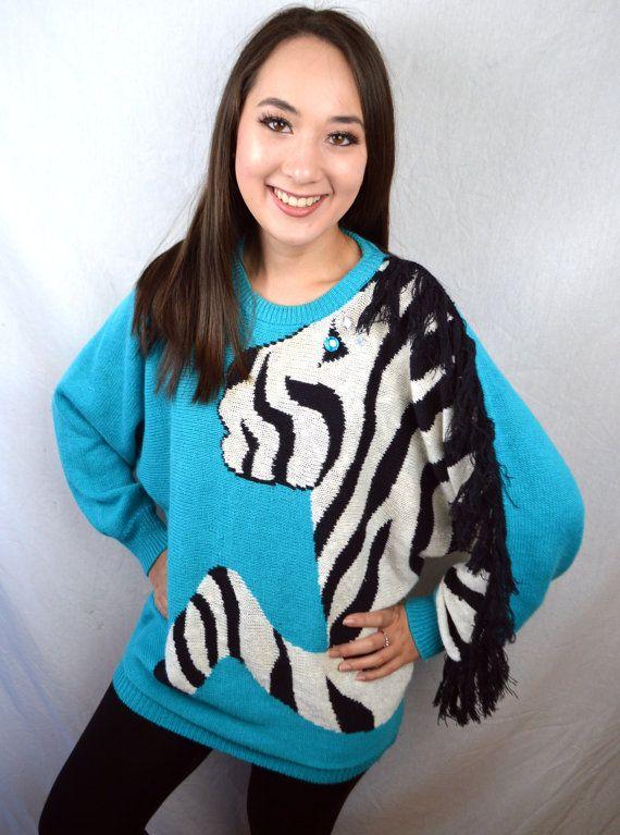 Awesome 80s Vintage brei Zebra trui