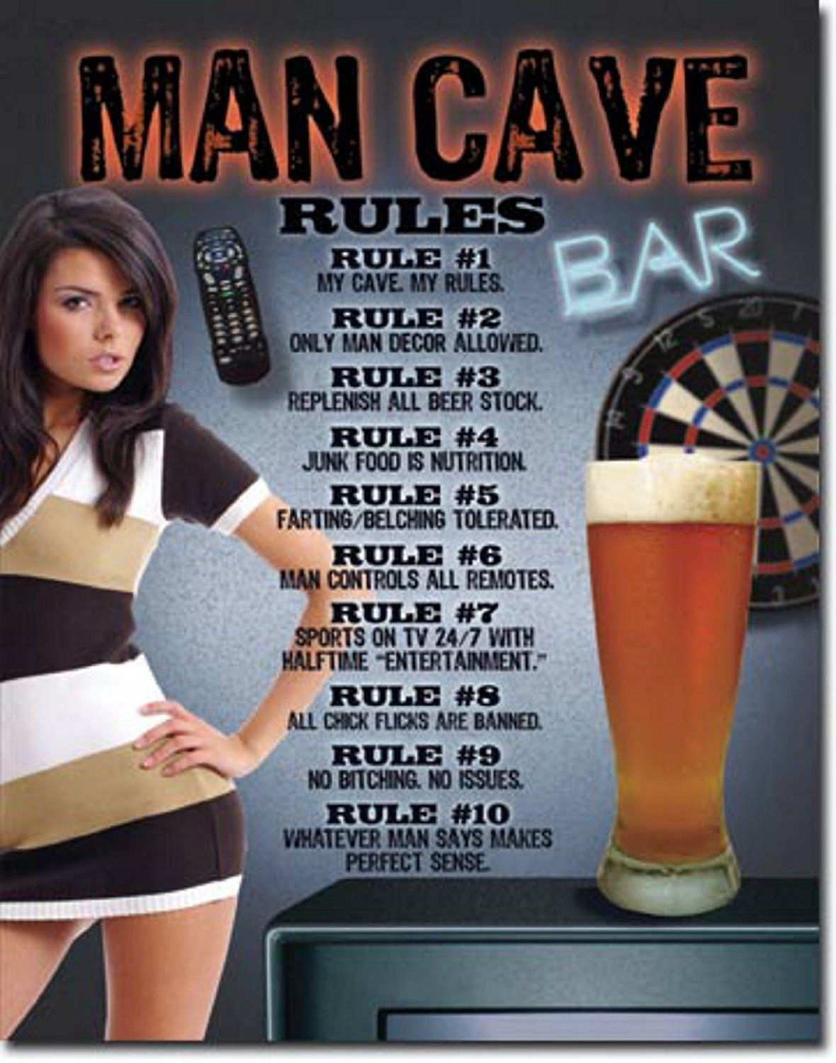 Man Cave Signs Metal : Man cave rules tin sign on sale for