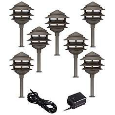 Pagoda 9 Piece Complete Outdoor Led Landscape Lighting Set Led Landscape Lighting Landscape Lighting Kits Led Outdoor Lighting