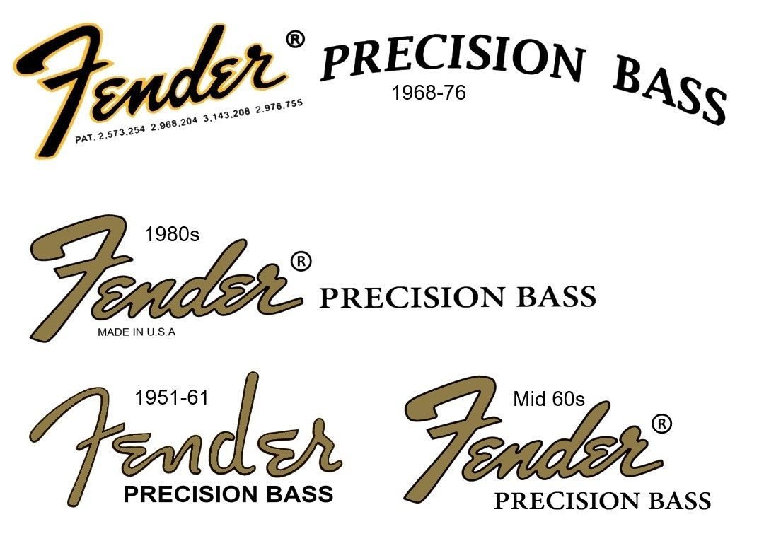 Assorted Precision Bass Headstock Decals For Repairs Or Refurbs In Gibson Les Paul Wiring Diagram Besides Epiphone Jr