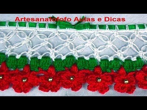 Bico em crochê #CANHOTO -  CROCHÊ 66 -   Barrado de natal