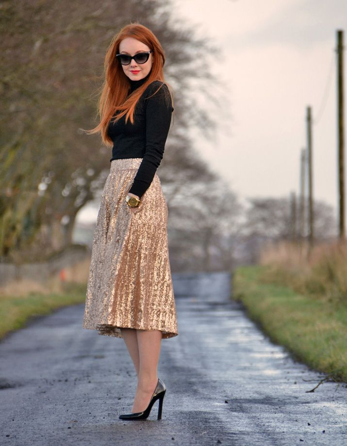 The Season of the Skirt | Skirt outfits, Gold sequin skirt and ...