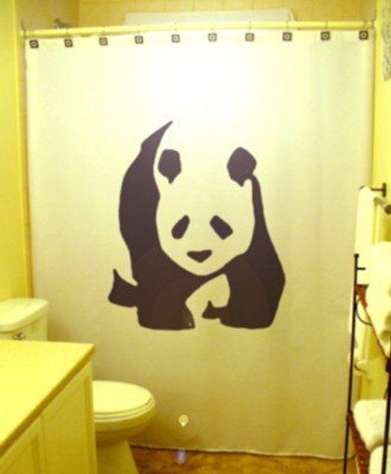 Panda Shower Curtain Bear Bathroom Decor Extra Long Fabric