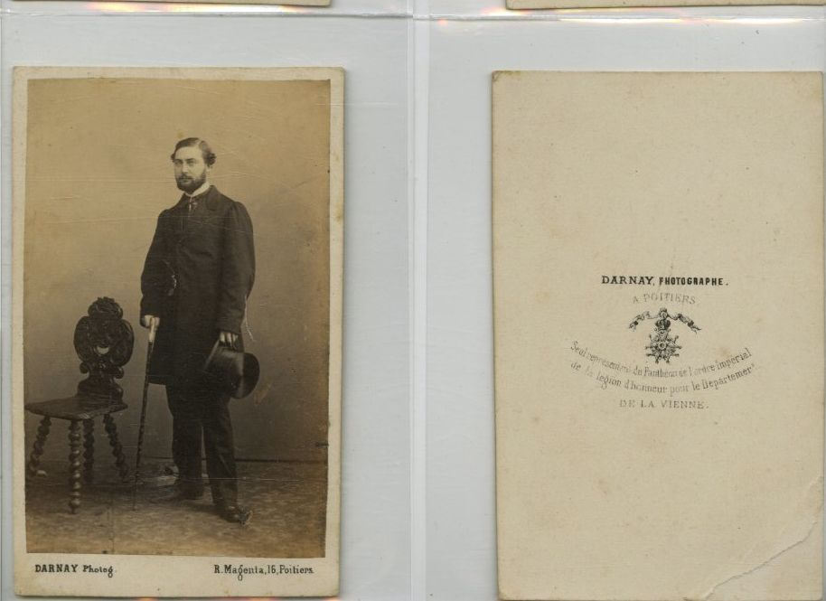 Darnay Poitiers Un Homme Pose CDV Vintage Albumen Carte De Visite Tirage A