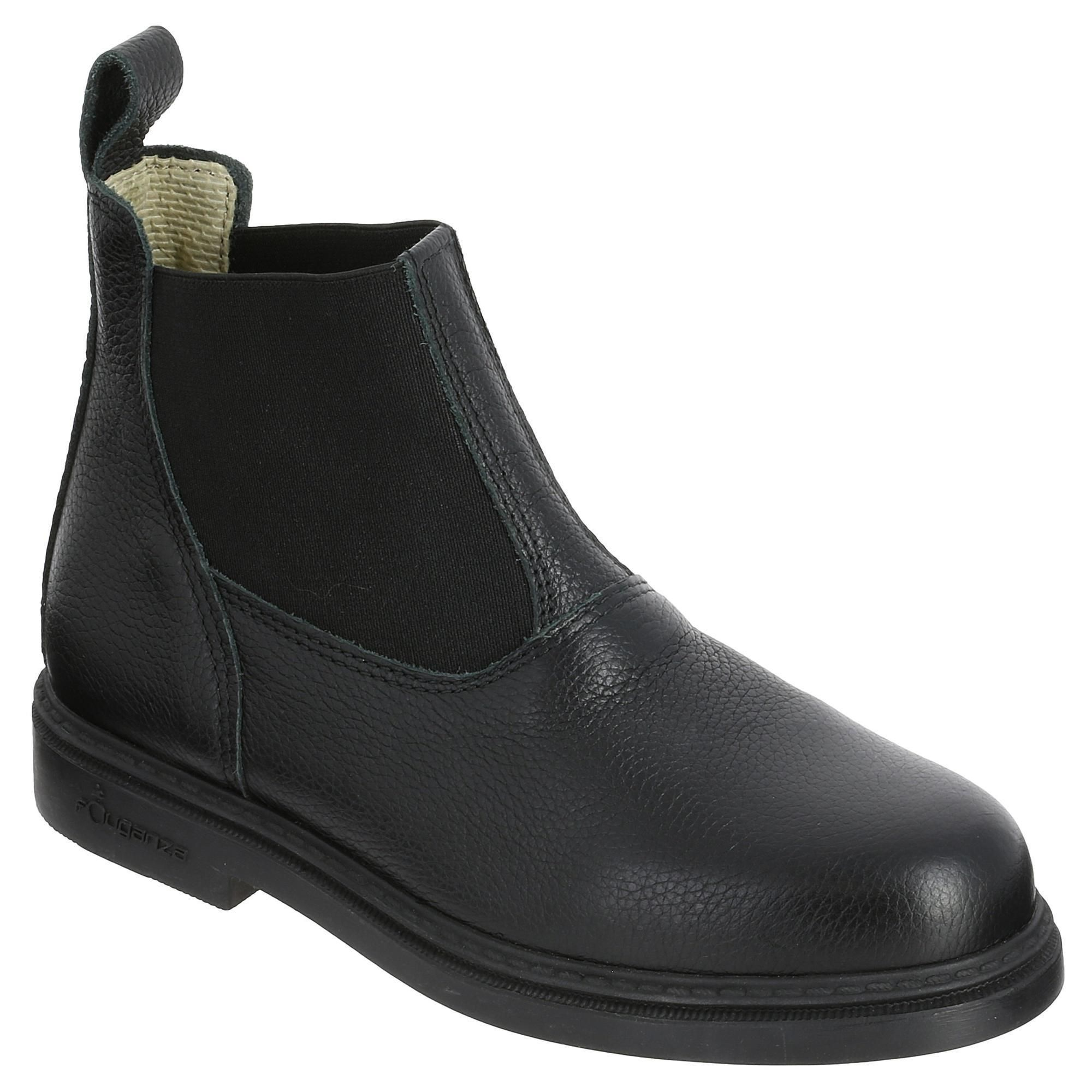 Reitstiefeletten Classic Leder Kinder schwarz