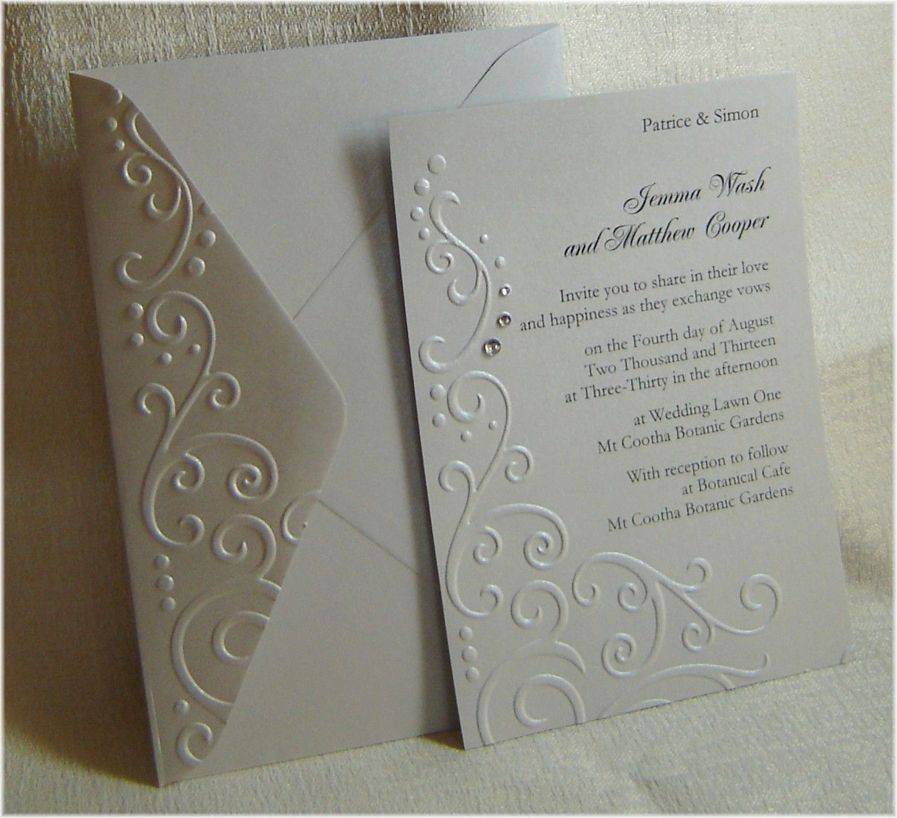 Embossed Wedding Invitations | Party: Invitations | Pinterest ...