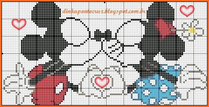 Minnie and Mickey Mouse x-stitch | C2C Graphgan | Pinterest | Mice ...