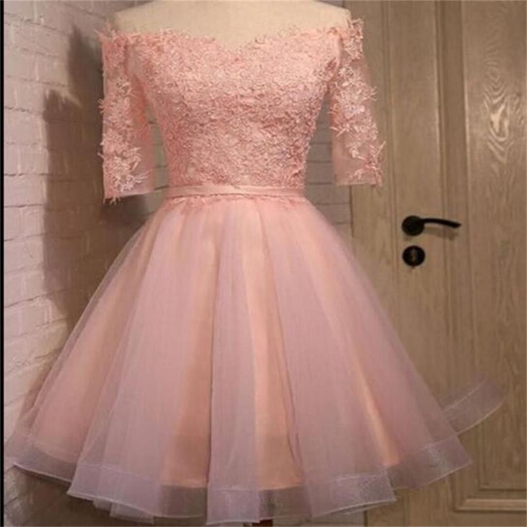 Long sleeve lace pink short homecoming prom dresses cm light