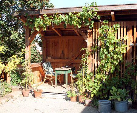 Fachwerk-Gartenlaube mit Weinreben