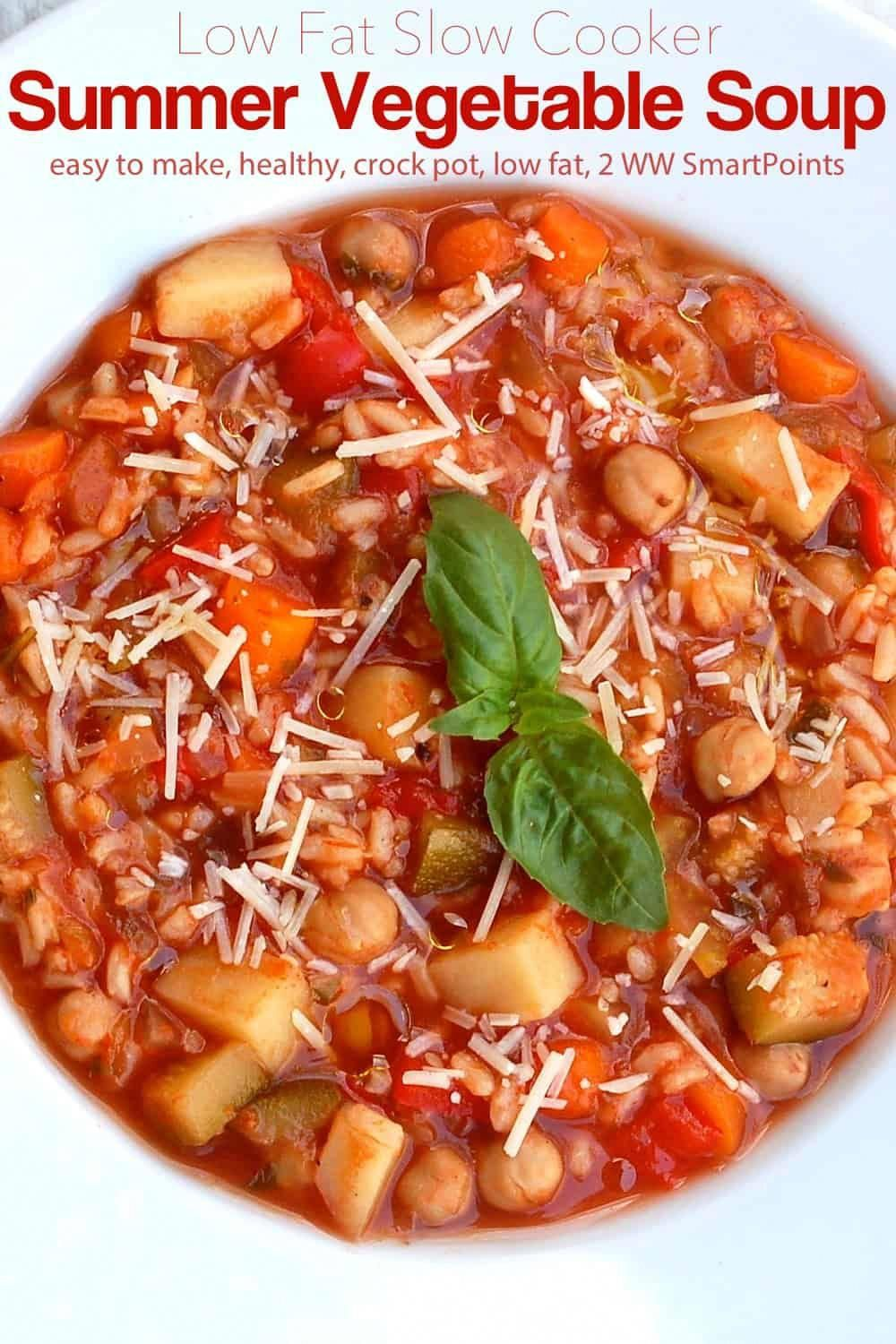 This Slow Cooker Summer Vegetable Soup (minestrone) is delicious hot and even better served as the Italians do during hot weather, at room temperature with a drizzle of extra virgin olive oil and sprinkling of Parmesan.