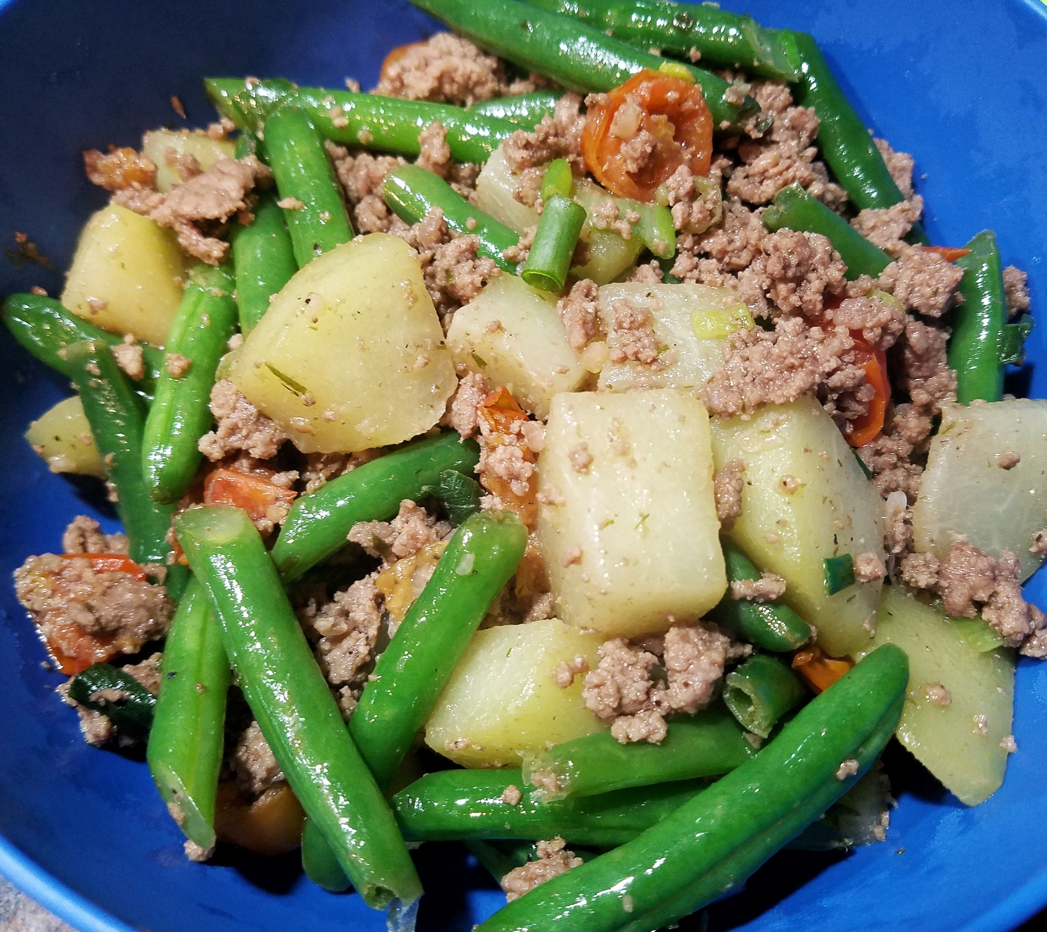 Ground Beef With Chayote Squash And Green Beans Keto Paleo Whole 30 Chayote Recipes Ground Beef Paleo Recipes Ground Beef