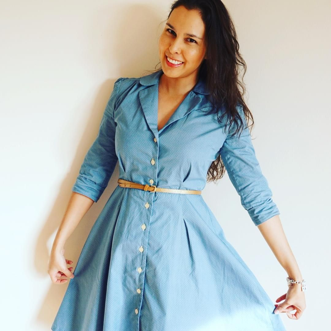 Vintage Shirt Dress by Sew Over It in a gorgeous blue!