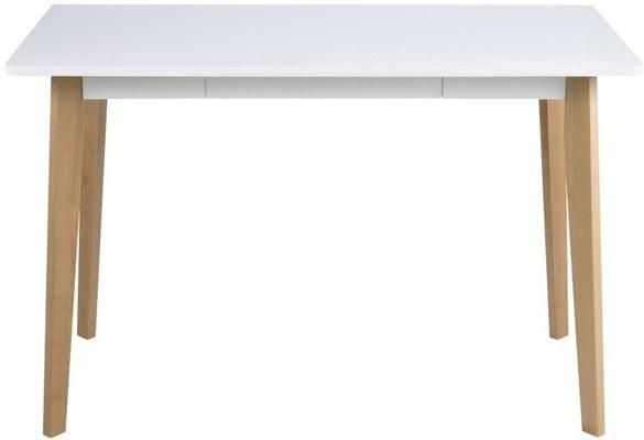 Ravan Modern Desk White Top Oak Legs Modern Desk White Desks Desk