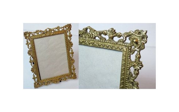 Ornate Filigree Picture Frame Gold Openwork By Timeenoughatlast Vintage Picture Frames Ornate Picture Frames Vintage Photo Frames