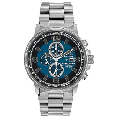 Men's Citizen Eco-Drive™ Nighthawk Chronograph Titanium Watch with Blue Dial (Model: CA0500-51L)