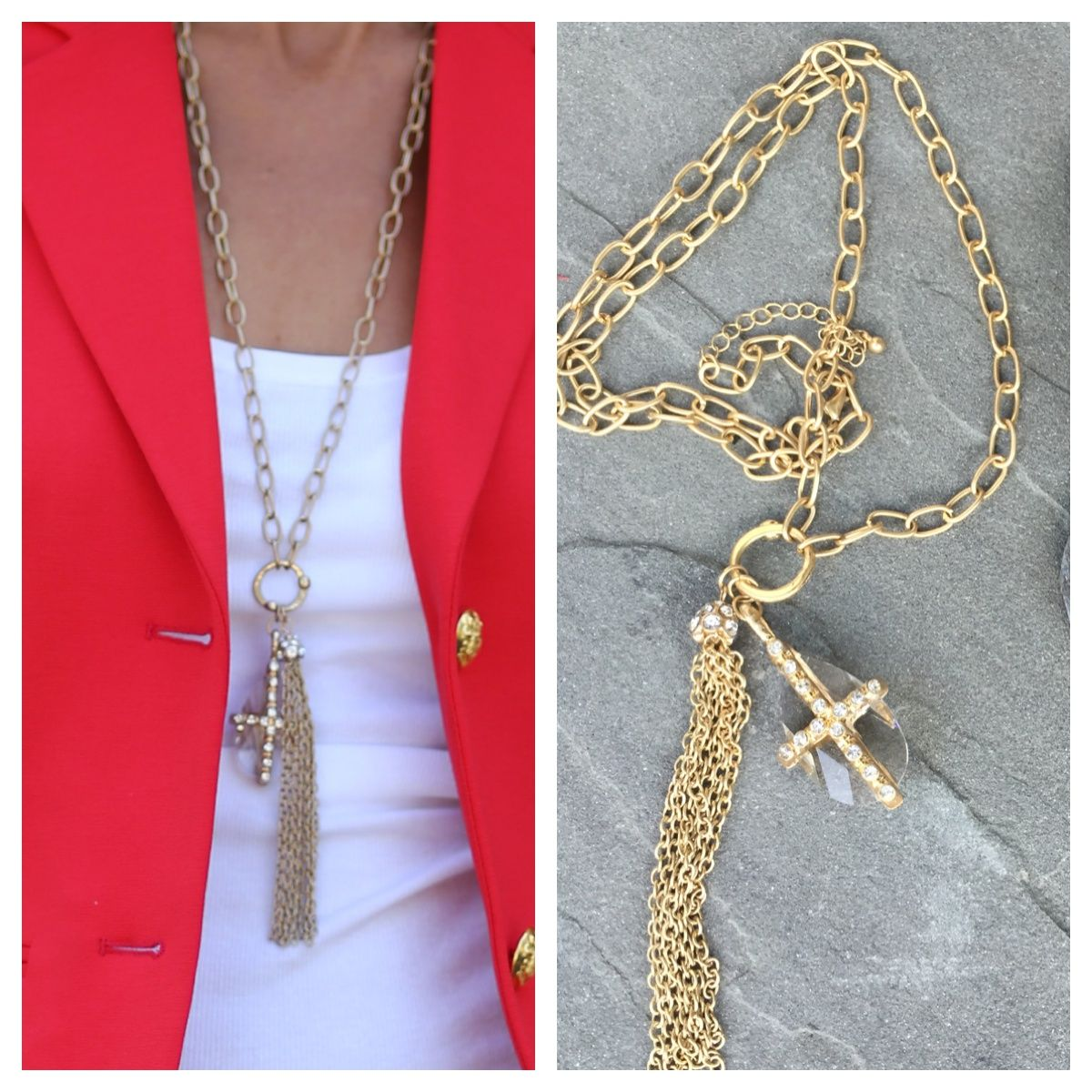 On the blog today our beautiful matt gold chain necklace with pendant and chain tassel only $38.00 free shipping in US only get yours here while they last http://www.jacketsociety.com/product/long-matt-gold-tone-necklace-with-pendant-and-chain-tassle/