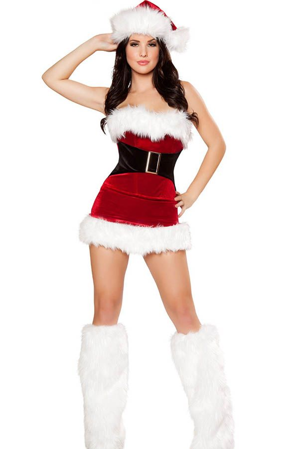 Red Strapless Lace Up Back Sexy Christmas Costume #Red #Costume #maykool