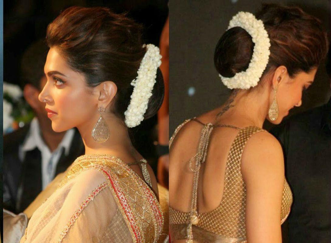 Deepika In Medium Base Bun With Flower Deepika Hairstyles Hair Puff Bollywood Hairstyles