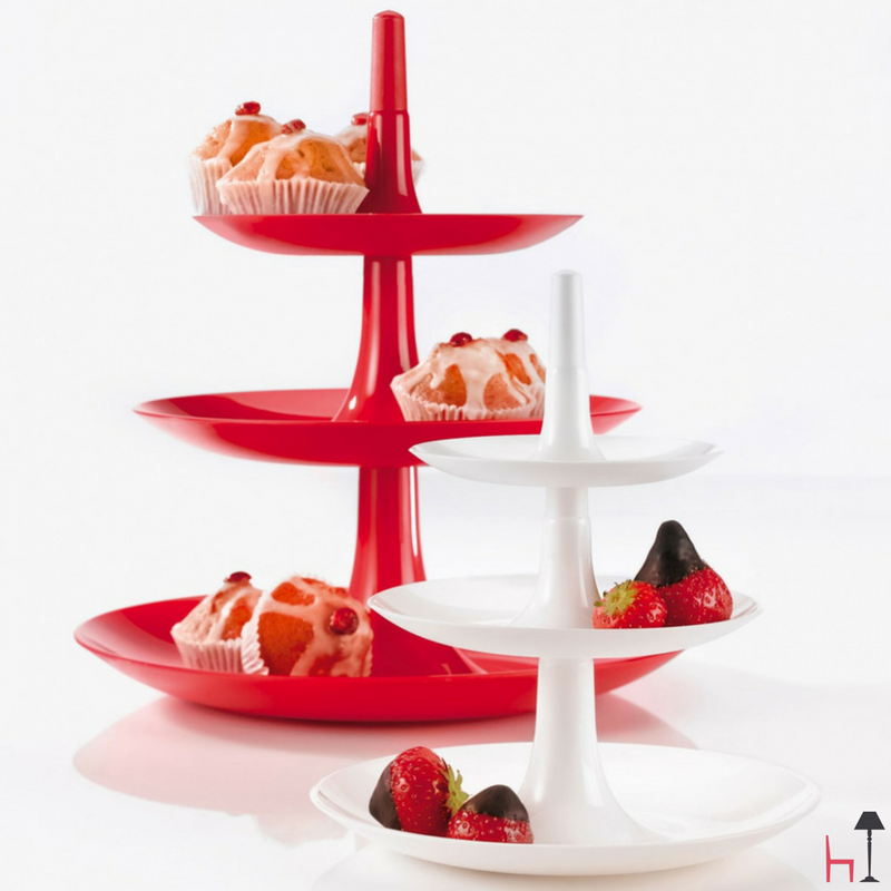 Betty the beautiful triple-tiered tray presents cookies, fruit or party snacks with a swivel of her hips.