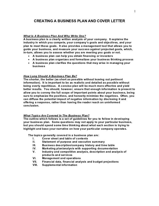 creating business plan and cover letterwhat sample letter examples - contents of a cover letter