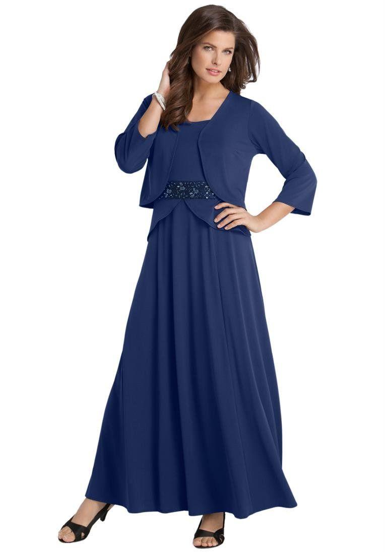 a09f04c9bd292 Roamans Women s Plus Size Peplum Jacket Dress Navy