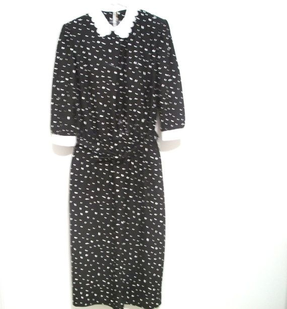 1980's Vintage Dress  Black And White Lace White by FabricDivaLady, $11.00