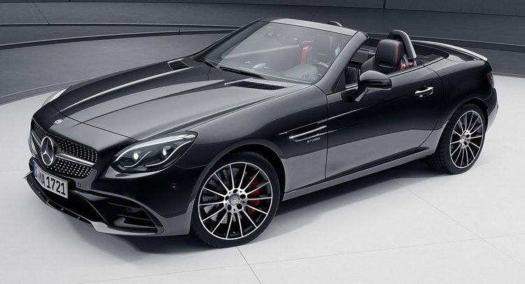 Mercedes Benz Treats Slc With A New Amg Night Package Carscoops Mercedes Slc Mercedes Benz Slk Mercedes Benz