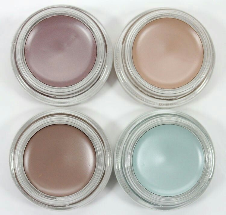 MAC Pro Longwear Paint Pots in (clockwise from top left) Stormy Pink, Camel Coat, Clearwater and Tailor Grey