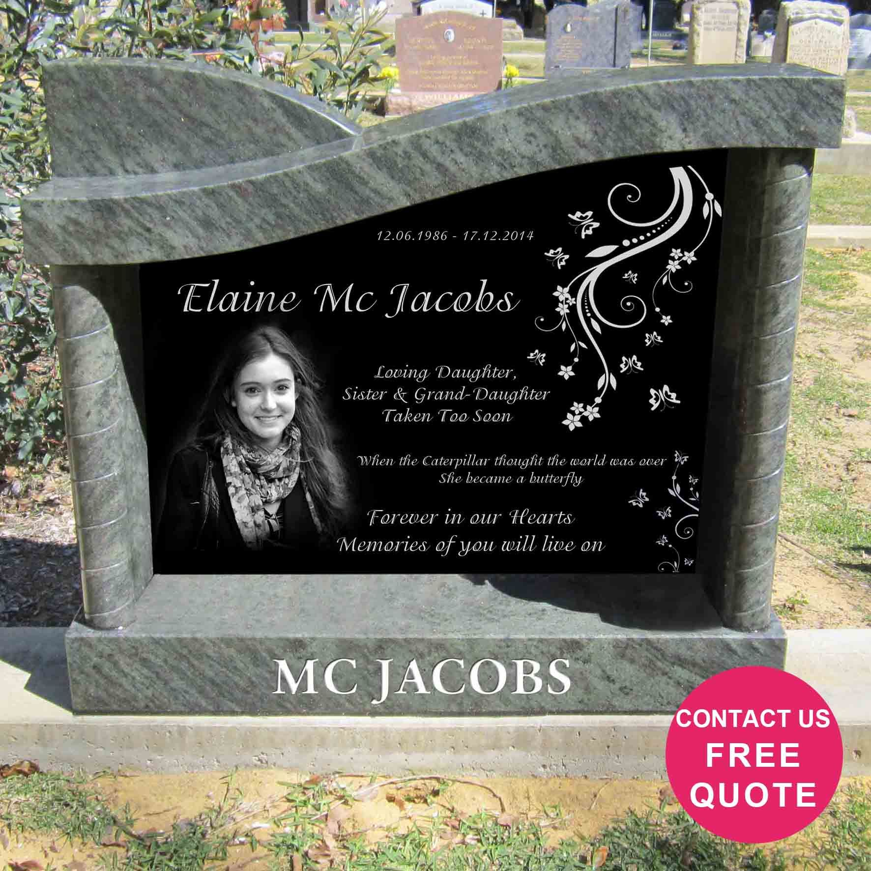 Laser Etched Granite Headstone In Right Wave Shape With