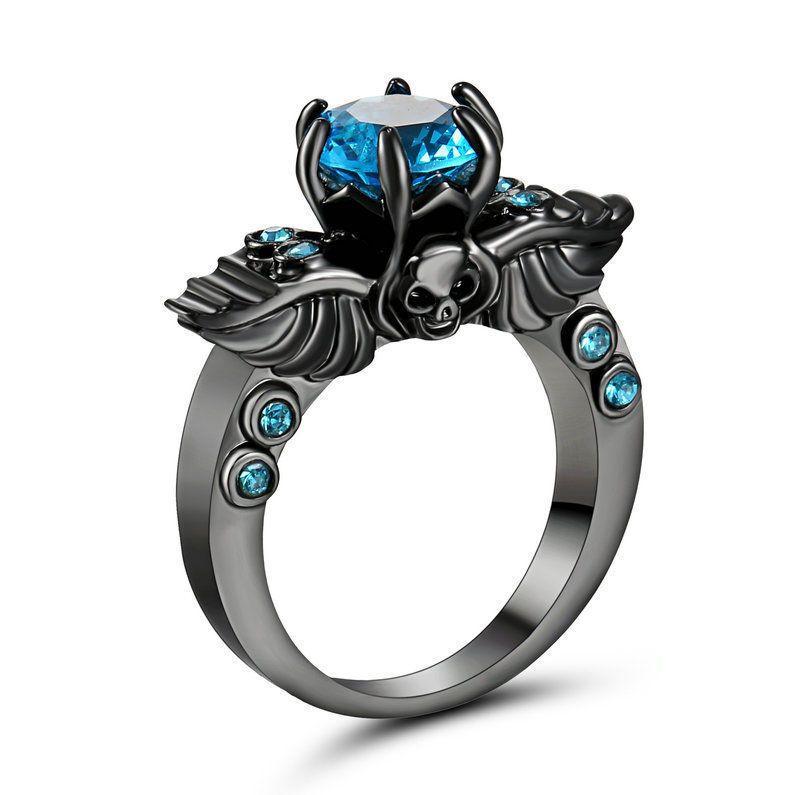 Ladies Badass Black Platinum Aqua Blue Skull Ring Size 6 Band