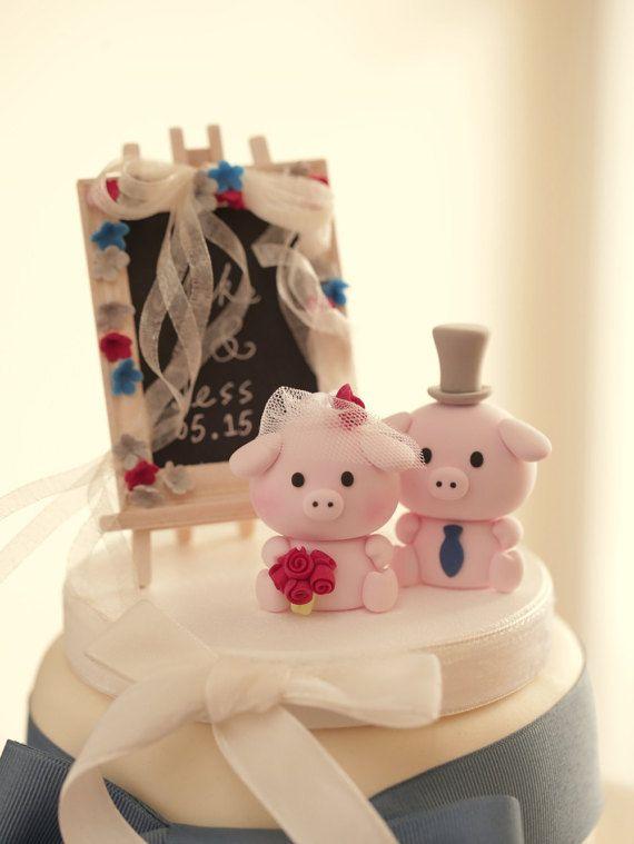 Piggy and Piglet bride and groom wedding cake topper---k742