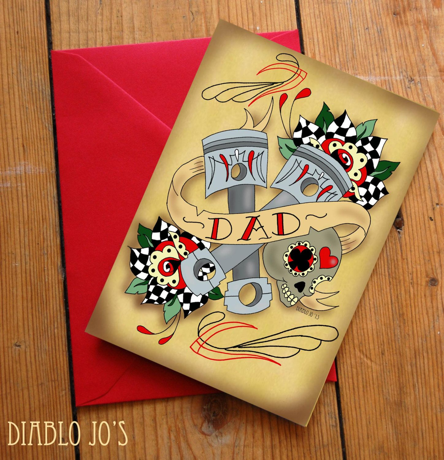 Hot Rod Father's Day Card With Pinstriping Sugar Skull 50