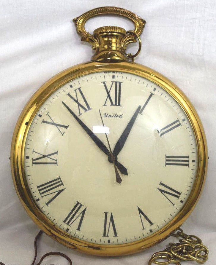 Vtg - Electric United Wall Clock #40 Pocket Watch Mid Century Steampunk WORKING