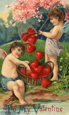 "10 Vintage Valentine's Day Postcards: Valentine Card - ""Captured Hearts"""