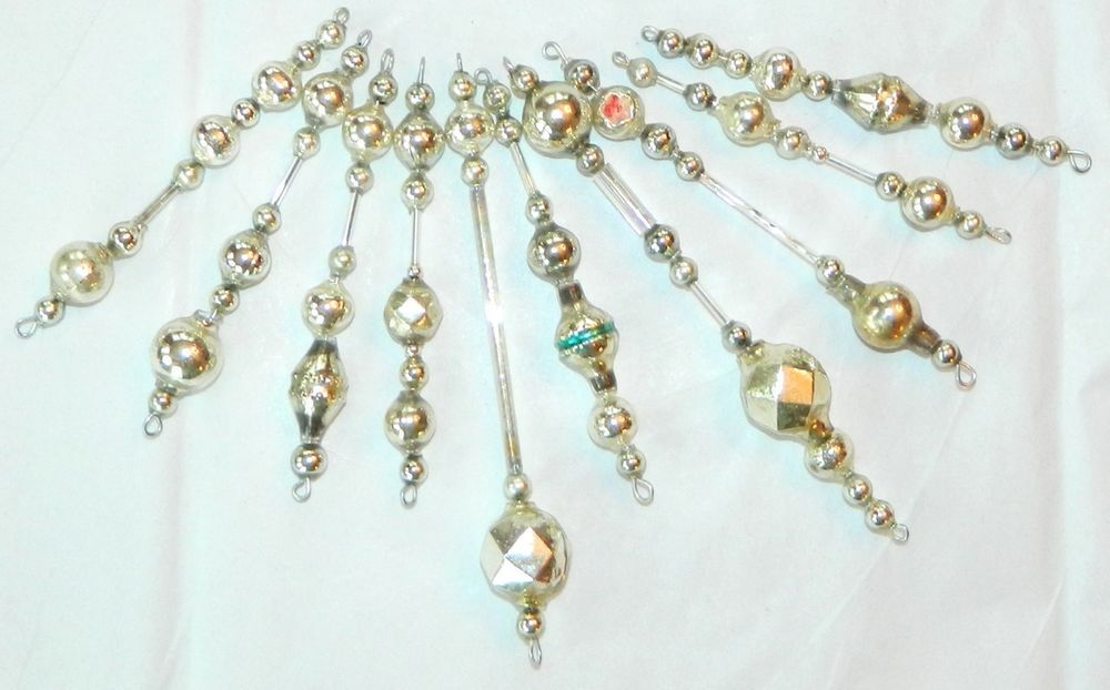 Vintage SILVER Mercury Glass Bead Icicle Ornaments Christmas Garland Antique